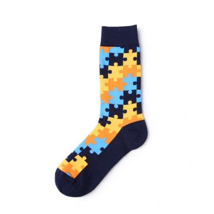 Blue Orange Puzzle Piece Sock