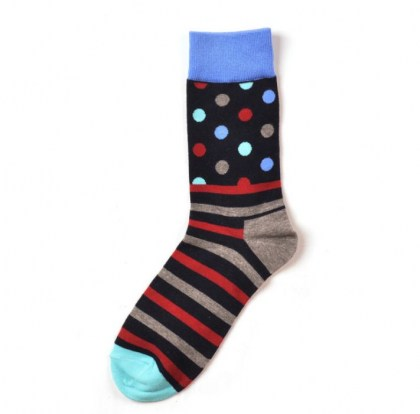 Navy Stripe dot Sock