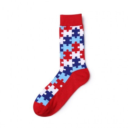 Red Puzzle Piece Sock